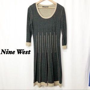 Nine West Black & Tan Fit n Flare Sweater Dress M